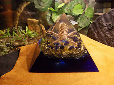 "Orgone ""Nuit"" Energy Pyramid Blue Sun Sitara Citrine Brass and Copper"