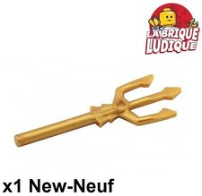 Lego - 1x minifig arme weapon trident lance or doré/pearl gold 92289 NEUF