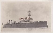 """French Navy Real Photo Postcard. """"Conde"""" Armoured Cruiser. Depot Ship. c 1905"""