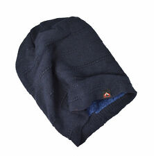 High quality double layer textured fleece lined long beanie hat Navy UK SELLER