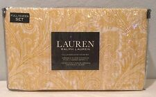 Ralph Lauren Duvet Set Full Queen NWT Yellow Paisley 3 Piece Cover Shams Stripe
