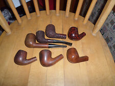7 Vintage Briar Style Smoking Pipes Unmarked Worn Off Maker Mark 1 Reddish Bowl