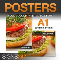 A1 Poster Printing - Full colour MATT Poster - A3 A2 A0 available - FREE-P&P!