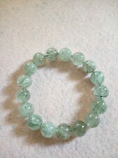 NATURAL 12 MM TO 12.5 MM GREEN HAIR RUTILATED QUARTZ CRYSTAL BRACELET (BRAND NEW)