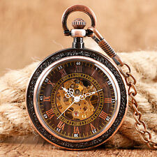 Retro Open Face Steampunk Red Copper Mechanical Hand Winding Pocket Watch Chain