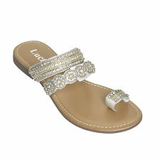 LADIES FLAT SANDALS DIAMANTE FANCY/ PARTY/ WEDDING/ SUMMER WEAR SHOES 3 COLOURS