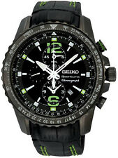 New Seiko SNAE97 Sportura Chronograph Black Dial Leather Mens Watch