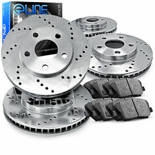 "Brake Rotors FRONT+REAR KIT ELINE ""CROSS DRILLED"" & CERAMIC PADS RC32240"
