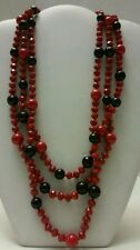 Gorgeous red multi layer beaded elegant necklace