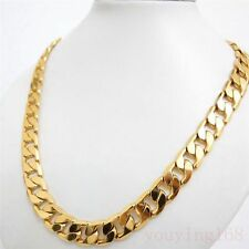 "SALE 14K Yellow "" Gold Filled "" Heavy 10mm Curb Link Chain Men Necklace  p922"
