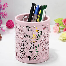 Pink Hollow Rose Flower Design Cylinder Pen Pencil Holder Container Organizer