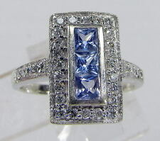 Effy Bita ring 14K wite gold Ceylon sapphire and diamond