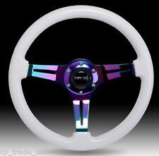 NRG Steering Wheel Classic Wood Grain 3 Spoke Neochrome Center ST-015MC-WT