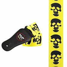 SKULL GUITAR STRAP YELLOW rock metal skulls music (2503) vibrant stand out loud