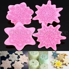 4Pcs Floral Snowflake Flower Fondant Cake Cutter Cookies Decor Pastry Mold Stamp