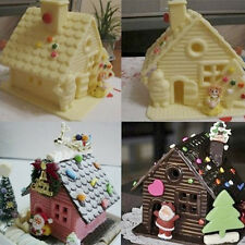 Silicone Xmas House Shaped Fondant Cake Mould Bakeware Cake Molds Tools