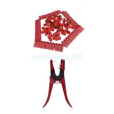Ear Tag Plier Sheep Cow Applicator Puncher Mark Tagger+ 100Sets Red Ear Tags