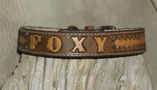"Custom Saddle Tan Leather Dog Collar Your Dogs Name 1"" wide Hand Tooled. G&E"