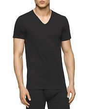$50 CALVIN KLEIN Mens 2 PACK V NECK SHIRT Classic Cotton Black Gray UNDERSHIRT M