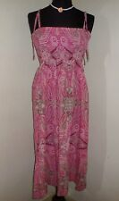 NEW Pink Paisley 100% Cotton Ruched Strappy Party Dress Size 10