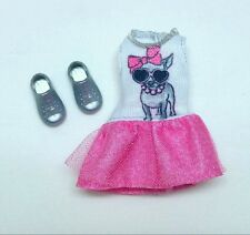 Barbie Chelsea Kelly doll clothes Pink & White Puppy Dog Dress Silver Shoes NEW