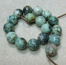 "African Turquoise 12mm Faceted Round Large 2mm Hole Beads 7.5"" Wrap DIY Spacer"