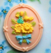 #1152A Whimsical Flower Cabochon Resin 41mm Shabby Floral Rose Flowers Bouquet