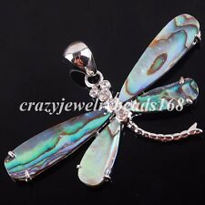 New Zealand Abalone Shell Dragonfly 58x32mm Beads Pendant Jewelry Charm N2156