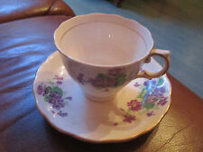 SUPERBE  TASSE    DECOR  VIOLETTES       CRAQUANTE    BRILLANCE +  MADE  ENGLAND