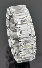 925 sterling silver Cz 1.50ct each Clear Emerald Cut Eternity band Stunning