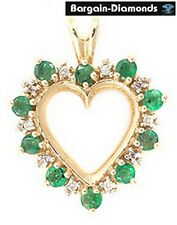 10 Emerald + 10 Diamond 10K Yellow Gold Heart Pendant green birthstone love mom