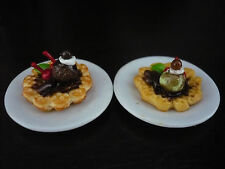 Set of 2 Waffle with Ice Cream in Plate Dollhouse Miniature Food  Deco-ICE5
