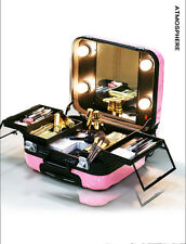 Cosmetic Women Travel Makeup Bags case ABS Trolley Travel Suitcase with Mirror