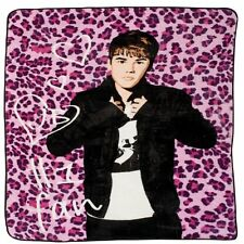 Justin Bieber  Twin Size Pink leopard Plush throw blanket 60x80