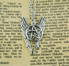 Necklace Cabochon silver Chain Glass Wiccan Pendant Tibetan Wing Pentagram HOT
