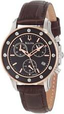 BULOVA DRESS CHRONOGRAPH DATE 12 DIAMONDS BROWN LEATHER LADIES WATCH 98R160 NEW