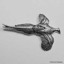 Flying Pheasant Pewter Pin Brooch - British Hand Crafted - Hunting Game Bird