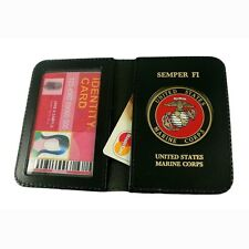 U S Marine Corps USMC Leather Military ID License Credit Business Card Holder