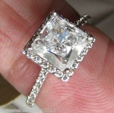 2.38ct Halo Princess cut brilliant Engagement ring 14K Solid White yellow Gold