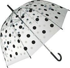 Regenschirm Schirm Black & White Transparent Kuppel-Schirm Stockschirm Point NEU