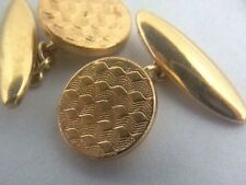 Vintage 1930's Round Circular Art Deco Gold Plated Cufflinks