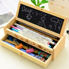 Kids Student Wooden Pen Pencil Case Holder Stationery Box Wood Storage 2 Layers