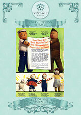 Vintage Knitting pattern-1940s wartime lux doll, dolls, family, soldier, sailor