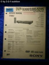 Sony Service Manual DVP S300 S305 S315 CD/DVD Player (#6693)