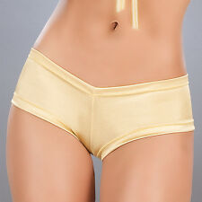 R1i 3009 Hot Metallic Gold Scrunch Booty Mini boy shorts Bikini panties S M L