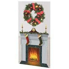 Christmas Fireplace Large Wall Scene Setter DIY Decoration Photo Backdrop Hearth