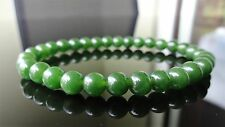 "Genuine Green Taiwanese Jade Quartz Bracelet for Men Stretch AAA 6mm - 8"" inch"