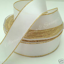 White with gold edge satin ribbon 25mm wide sold per 2 metres