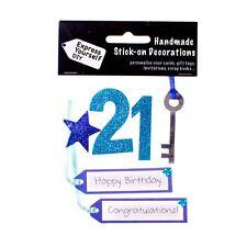 Bleu 21st anniversaire diy carte de vœux toppers personalise handmade cartes vous-même