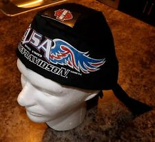 HARLEY DAVIDSON BLACK SKULL CAP DO RAG 1903 USA WINGS HEADWRAP ~ AUCTION 1016!
